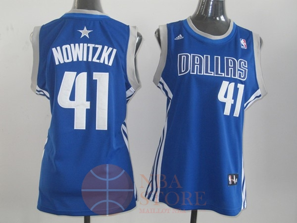 Classic Maillot NBA Femme Dallas Mavericks NO.41 Dirk Nowitzki Bleu