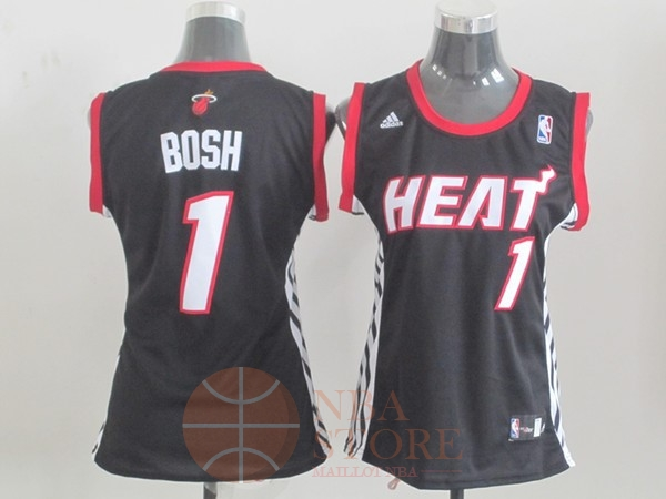 Classic Maillot NBA Femme Miami Heat NO.1 Chris Bosh Noir