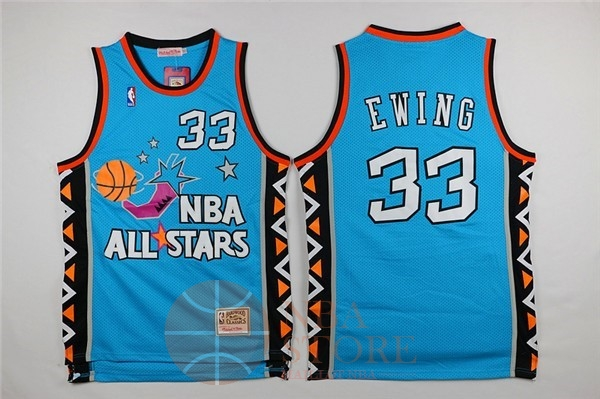 Classic Maillot NBA 1996 All Star NO.33 Patrick Ewing Bleu