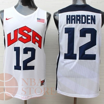 Classic Maillot NBA 2012 USA NO.12 James Harden Blanc