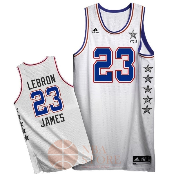 Classic Maillot NBA 2015 All Star NO.23 LeBron James Blanc