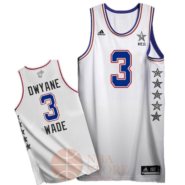 Classic Maillot NBA 2015 All Star NO.3 Dwyane Wade Blanc
