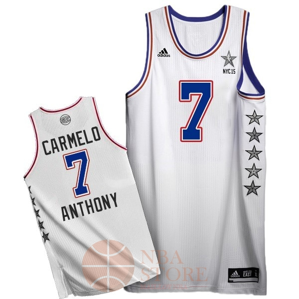 Classic Maillot NBA 2015 All Star NO.7 Carmelo Anthony Blanc
