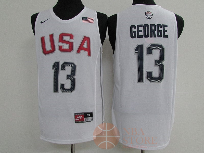 Classic Maillot NBA 2016 USA NO.13 Paul George Blanc