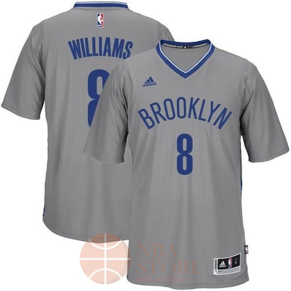 Classic Maillot NBA Brooklyn Nets Manche Courte No.8 Deron Michael Williams Gris
