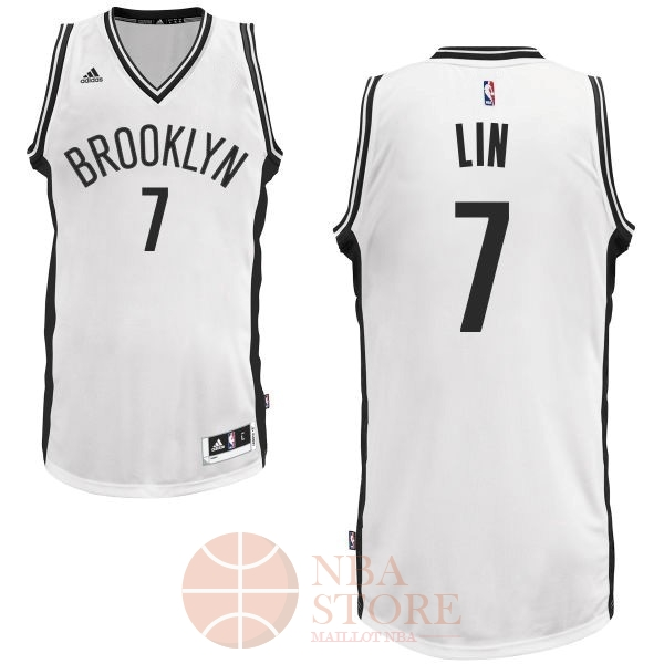 Classic Maillot NBA Brooklyn Nets No.7 Jeremy Lin Blanc
