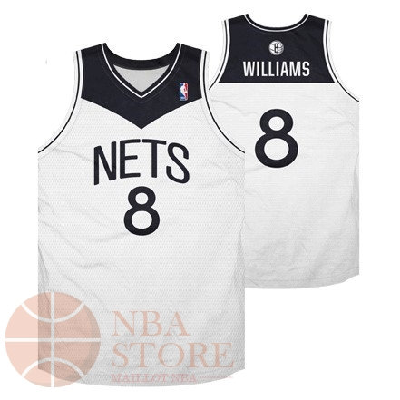 Classic Maillot NBA Brooklyn Nets No.8 Deron Michael Williams Blanc Noir