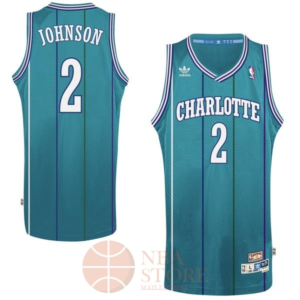 Classic Maillot NBA Charlotte Hornets No.2 Larry Demetric Johnson Vert