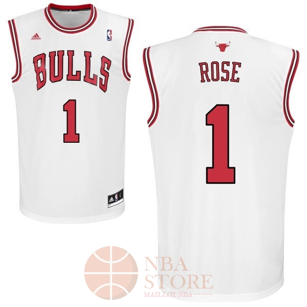 Classic Maillot NBA Chicago Bulls NO.1 Derrick Rose Blanc