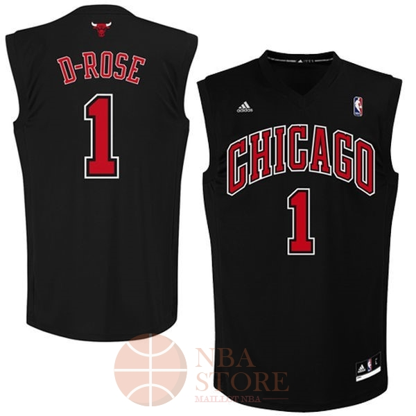 Classic Maillot NBA Chicago Bulls NO.1 Derrick Rose Noir Rouge