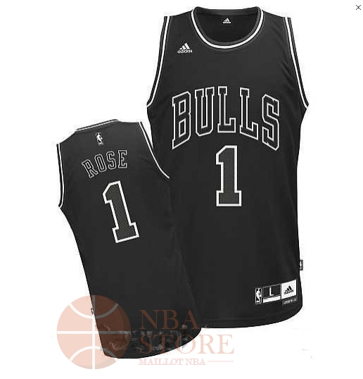 Classic Maillot NBA Chicago Bulls NO.1 Derrick Rose Noir