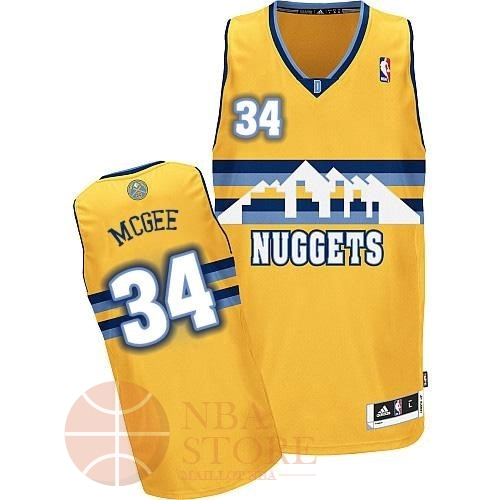 Classic Maillot NBA Denver Nuggets NO.34 JaVale McGee Jaune
