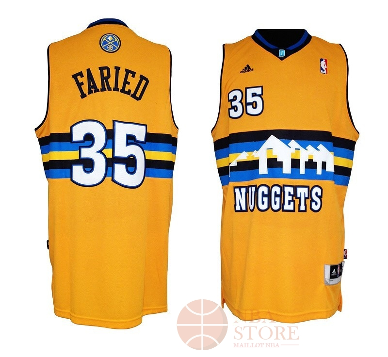 Classic Maillot NBA Denver Nuggets NO.35 Kenneth Faried Jaune