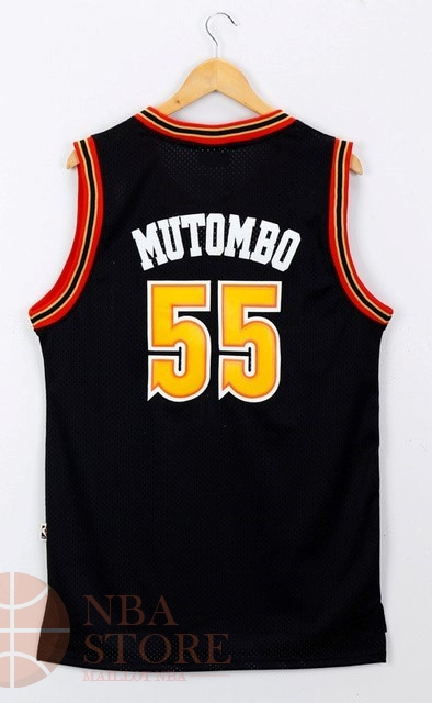 Classic Maillot NBA Denver Nuggets NO.55 Dikembe Mutombo Noir