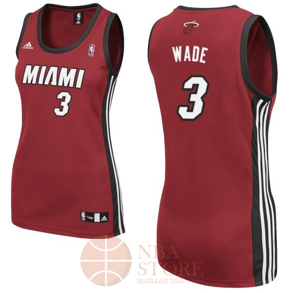Classic Maillot NBA Femme Miami Heat NO.3 Dwyane Wadet Rouge