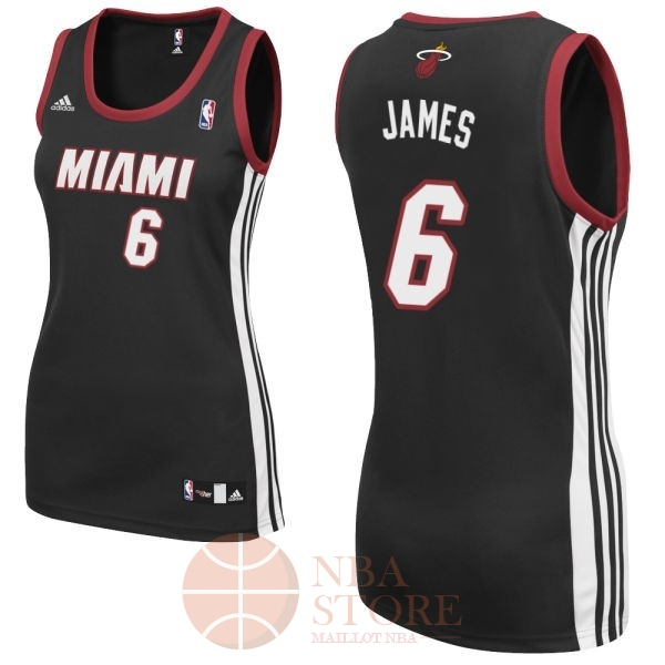 Classic Maillot NBA Femme Miami Heat NO.6 LeBron James Noir