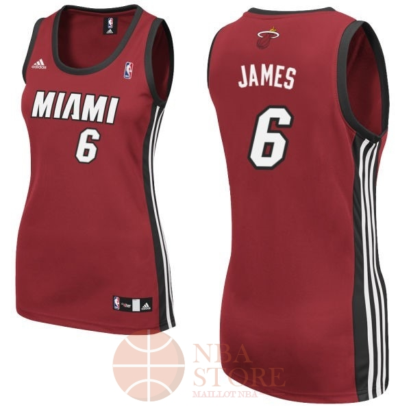 Classic Maillot NBA Femme Miami Heat NO.6 LeBron James Rouge
