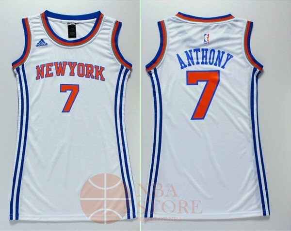 Classic Maillot NBA Femme New York Knicks NO.7 Carmelo Anthony Blanc