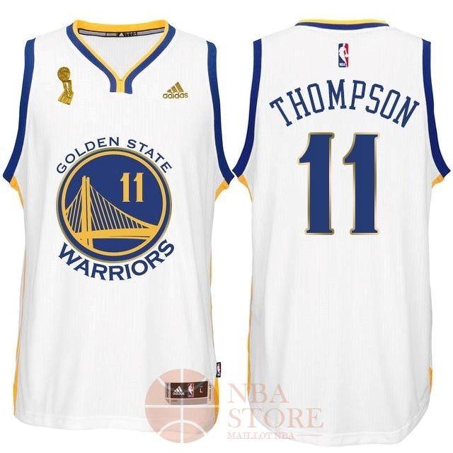 Classic Maillot NBA Golden State Warriors 2015 Final Champions NO.11 Thompson Blanc