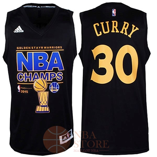 Classic Maillot NBA Golden State Warriors 2015 Final Champions NO.30 Curry Noir