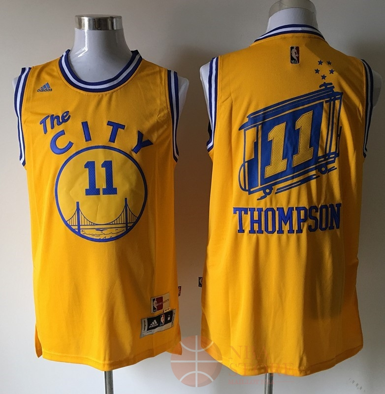 Classic Maillot NBA Golden State Warriors NO.11 Klay Thompson Jaune