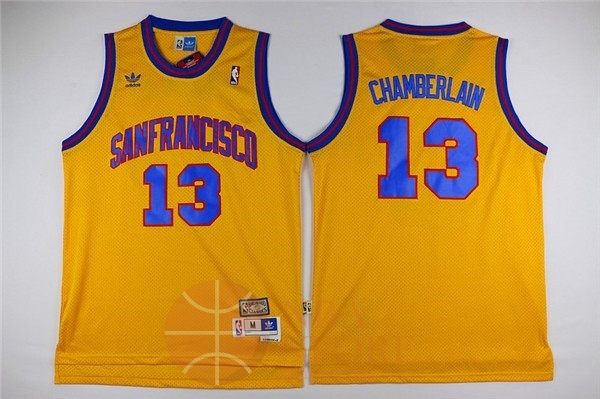 Classic Maillot NBA Golden State Warriors NO.13 Wilt Chamberlain Jaune