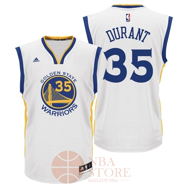 Classic Maillot NBA Golden State Warriors NO.35 Kevin Durant Blanc
