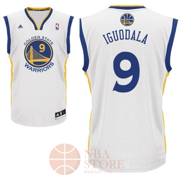 Classic Maillot NBA Golden State Warriors NO.9 Andre Iguodala Blanc