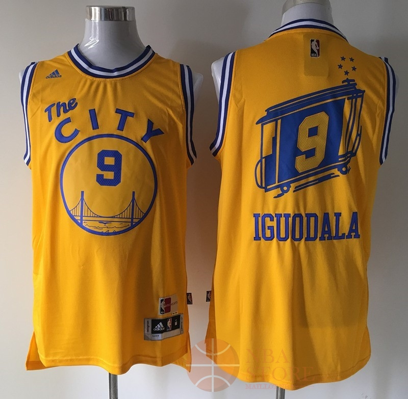 Classic Maillot NBA Golden State Warriors NO.9 Andre Iguodala Retro Jaune