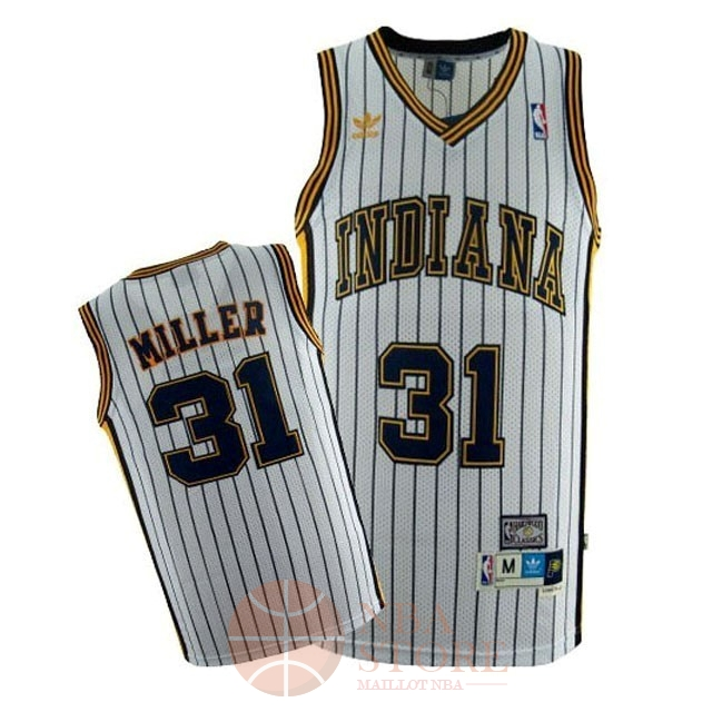 Classic Maillot NBA Indiana Pacers NO.31 Reggie Miller Blanc Bande