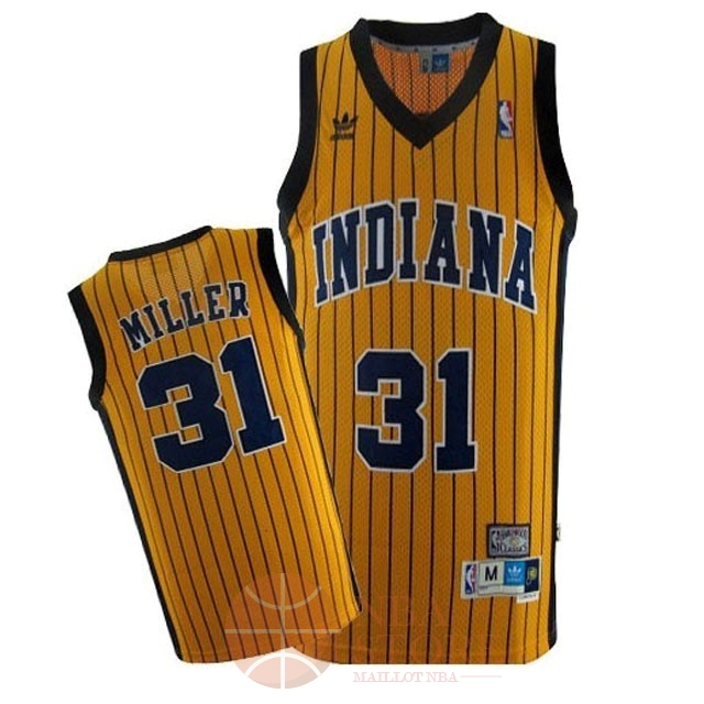 Classic Maillot NBA Indiana Pacers NO.31 Reggie Miller Jaune Bande