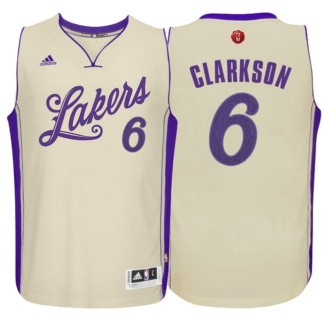 Classic Maillot NBA Los Angeles Lakers 2015 Noël NO.6 Clarkson Blanc