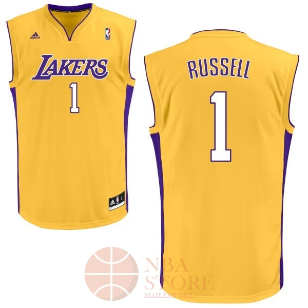 Classic Maillot NBA Los Angeles Lakers NO.1 D'Angelo Russell Jaune