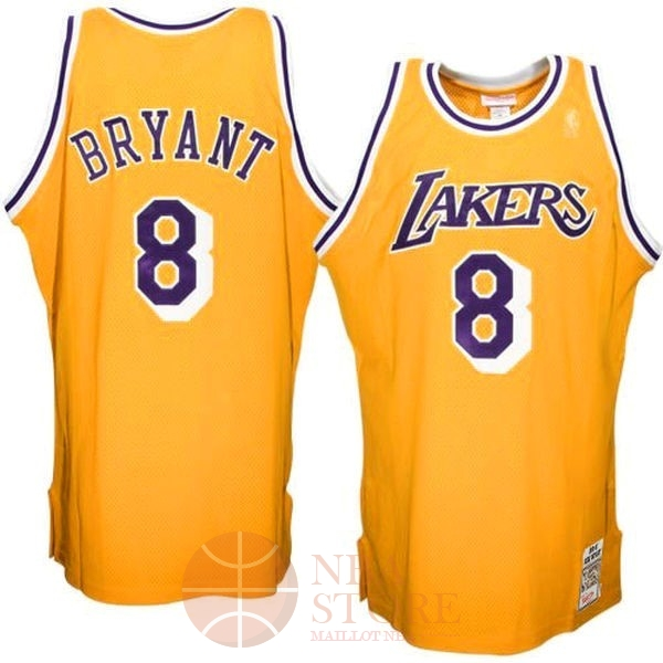 Classic Maillot NBA Los Angeles Lakers NO.8 Kobe Bryant Jaune