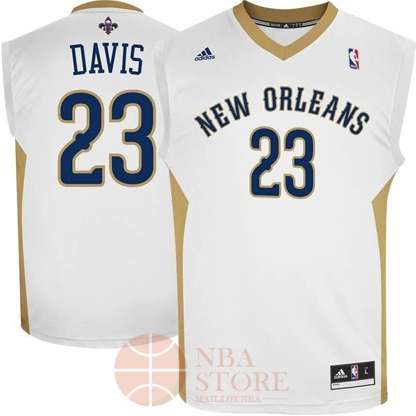 Classic Maillot NBA New Orleans Pelicans NO.23 Anthony Davis Blanc
