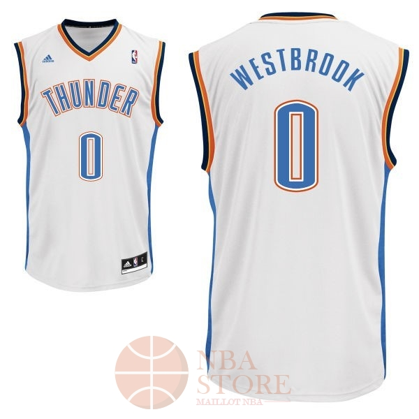 Classic Maillot NBA Oklahoma City Thunder NO.0 Russell Westbrook Blanc