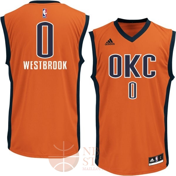 Classic Maillot NBA Oklahoma City Thunder NO.0 Russell Westbrook Orange