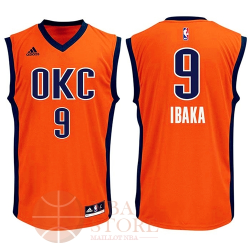 Classic Maillot NBA Oklahoma City Thunder NO.9 Serge Ibaka Orange
