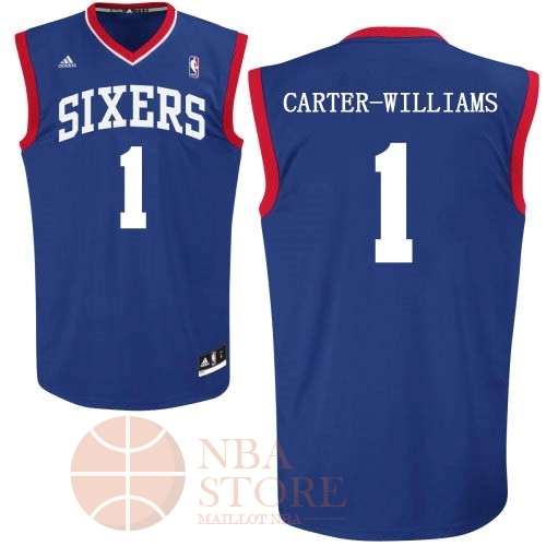 Classic Maillot NBA Philadelphia Sixers NO.1 Michael Carter Williams Bleu