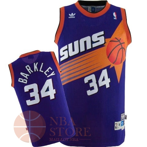 Classic Maillot NBA Phoenix Suns NO.34 Charles Barkley Pourpre