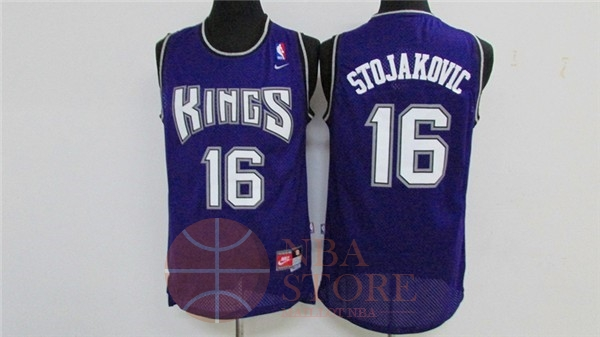 Classic Maillot NBA Sacramento Kings NO.16 Peja Stojakovic Retro Pourpre