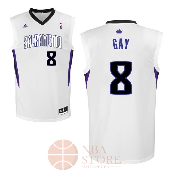 Classic Maillot NBA Sacramento Kings NO.8 Rudy Gay Blanc
