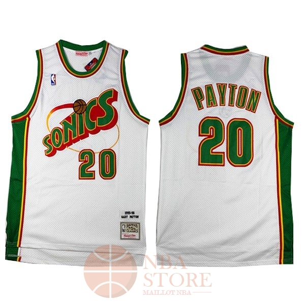 Classic Maillot NBA Seattle Supersonics NO.20 Gary Payton Retro Blanc