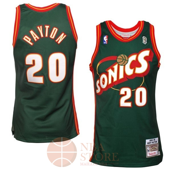 Classic Maillot NBA Seattle Supersonics NO.20 Gary Payton Retro Vert