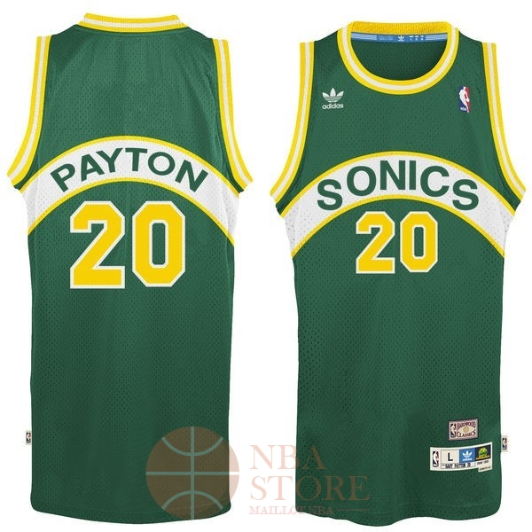 Classic Maillot NBA Seattle Supersonics NO.20 Gary Payton Vert
