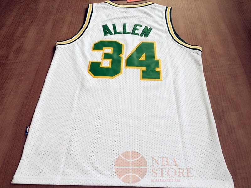 Classic Maillot NBA Seattle Supersonics NO.34 Ray Allen Retro Blanc