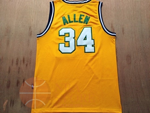 Classic Maillot NBA Seattle Supersonics NO.34 Ray Allen Retro Jaune