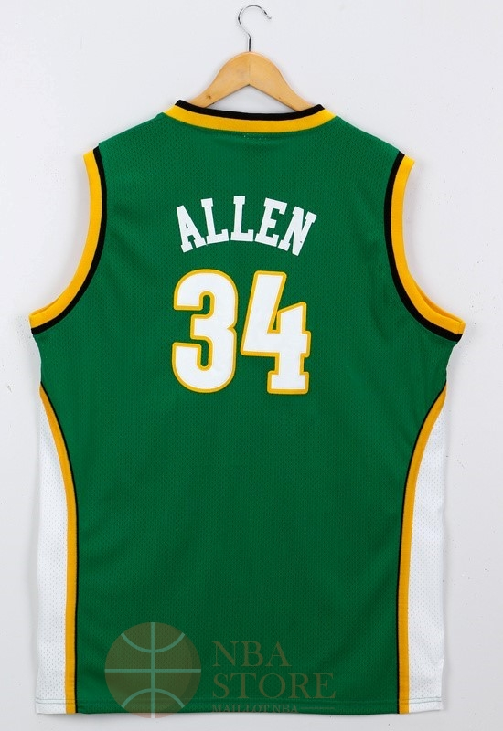 Classic Maillot NBA Seattle Supersonics NO.34 Ray Allen Vert
