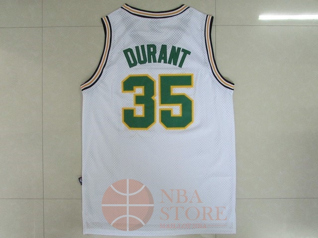 Classic Maillot NBA Seattle Supersonics NO.35 Kevin Durant Retro Blanc
