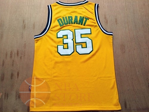 Classic Maillot NBA Seattle Supersonics NO.35 Kevin Durant Retro Jaune